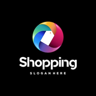 Colorful shopping logo template, colorful price tag logo designs