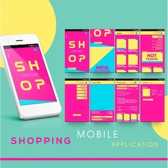 カラフルなショッピングモバイルアプリ