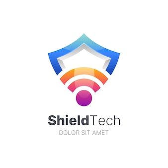 Colorful signal bar and shield logo template