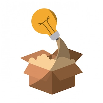 Colorful silhouette of cardboard box and light bulb without contour and shading
