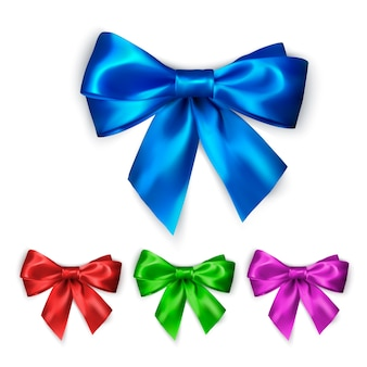 Colorful silk bow set. collection of elegant bows in different colors.