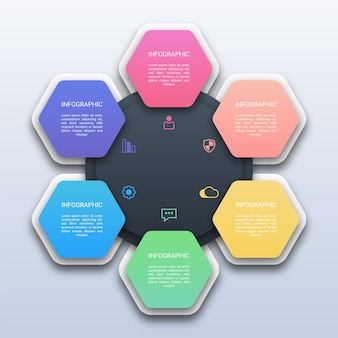 Colorful six options hexagon infographic