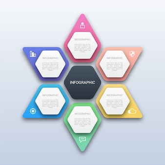 Colorful six options infographic