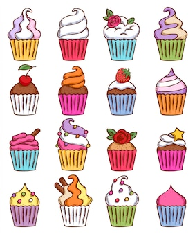 Colorful sketch doodle hand drawn style cupcakes set