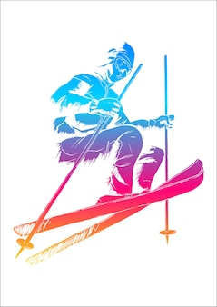 Colorful sketch illustration of a skier