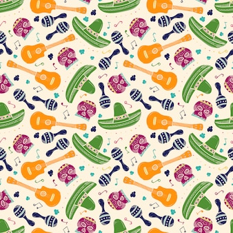 Colorful sketch mexican symbols seamless pattern