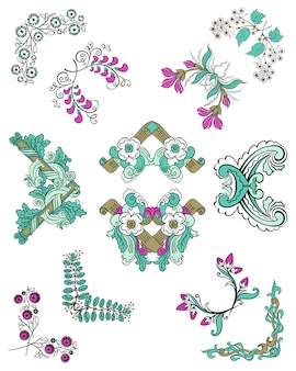 Set di angoli floreali ornamentali di schizzo colorato