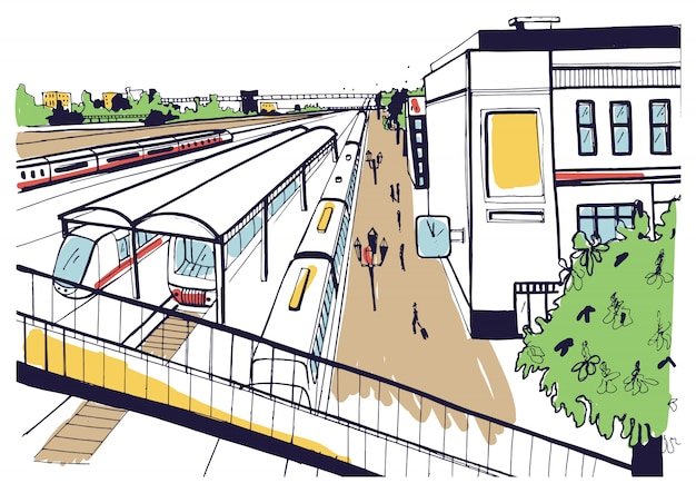 Colorful sketch top view of railway station, platforms with passengers. hand drawn illustration.