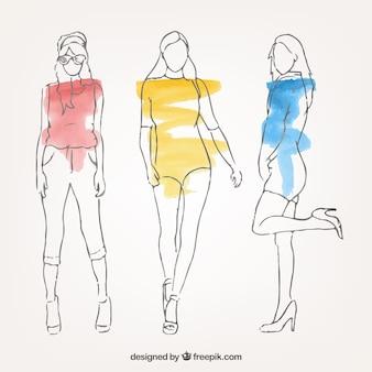 Schizzi colorati di modelle