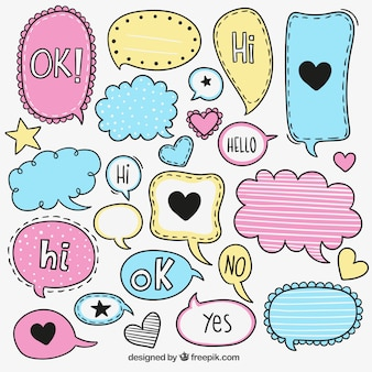 Colorful sketchy speech bubbles