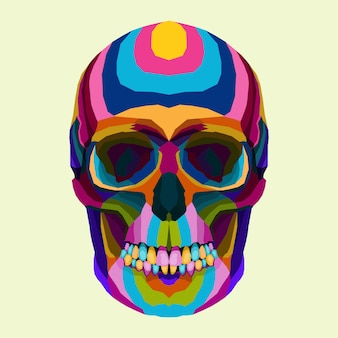 Colorful of skull pop art vector style