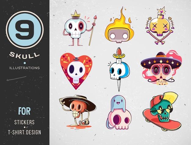 Colorful skull set for t-shirt design