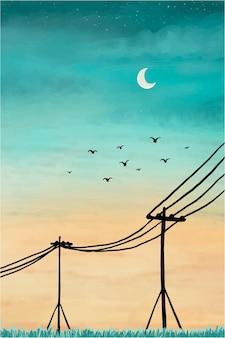 カラフルな空の水彩イラスト