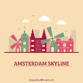 Colorful skyline design of amsterdam