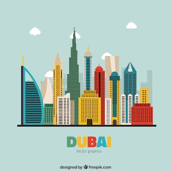 Colorful skyline of dubai