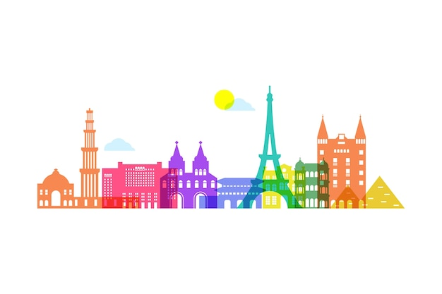 Colorful skyline landmarks buildings