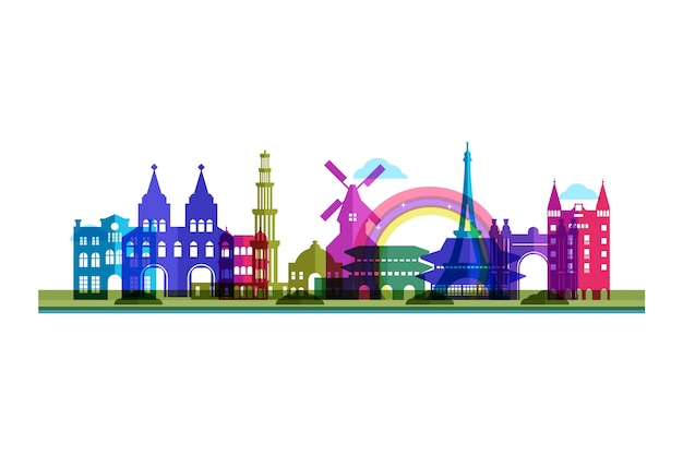 Colorful skyline landmarks tourism