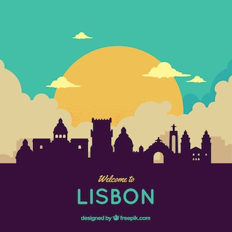 Colorful skyline of lisbon