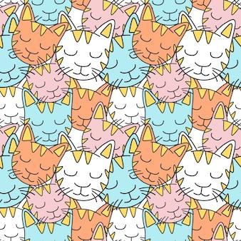 Colorful sleepy cat seamless pattern
