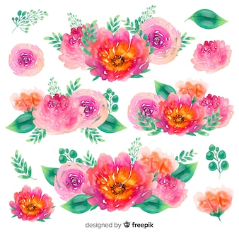 Colorful small flowers bouquets watercolor