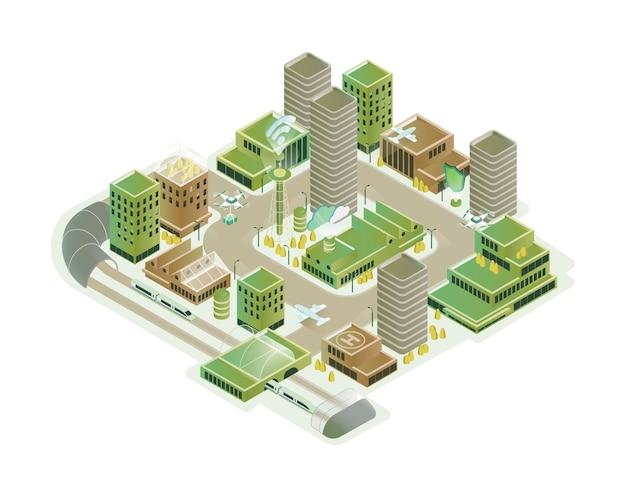 Красочный умный город изометрическая модель векторные иллюстрации. современная инновационная инфраструктура городского пейзажа с технологическим транспортом, небоскребом, высокотехнологичной творческой композицией на белом фоне.
