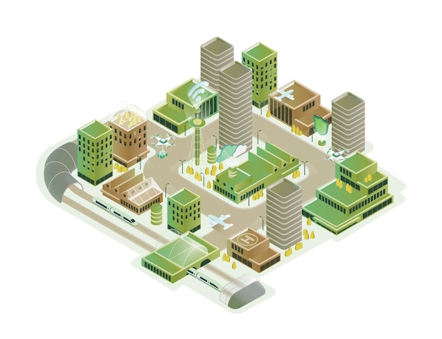 Colorful smart city isometric model vector illustration. modern innovation cityscape infrastructure with technological transport, skyscraper, hi tech creative composition isolated on white background.
