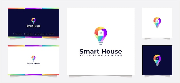Colorful smart house logo gradient and business card