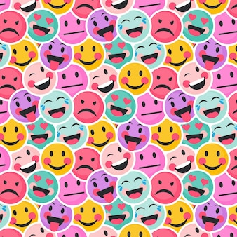 Colorful smile and angry emoticons pattern