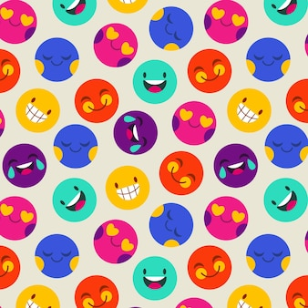 Colorful smile emoticon pattern