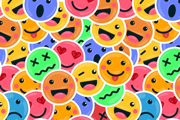 Colorful smile emoticons pattern background
