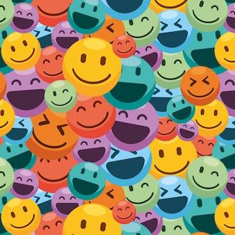 カラフルな笑顔の絵文字パターン