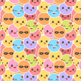 Colorful smile emoticons pattern