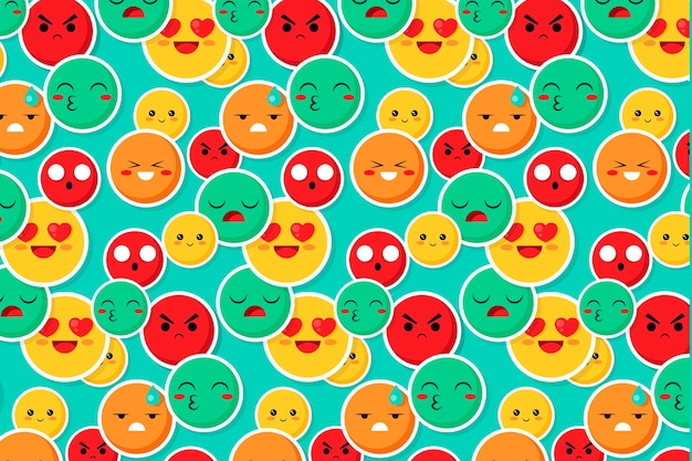 Colorful smile and kiss emoticons pattern