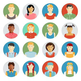 Colorful smiling children vector avatar set with multiracial children of diverse ethnicity