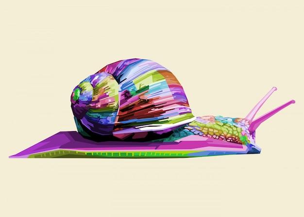 기하학적 팝 아트에 다채로운 달팽이