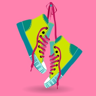 Colorful sneaker pair hang on lace
