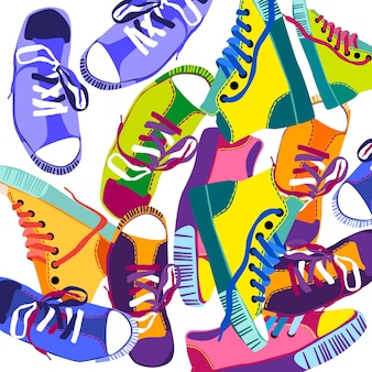 Colorful sneakers training sport shoes set collection banner