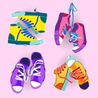 다채로운 운동 화 훈련 스포츠 신발 세트 컬렉션 배너