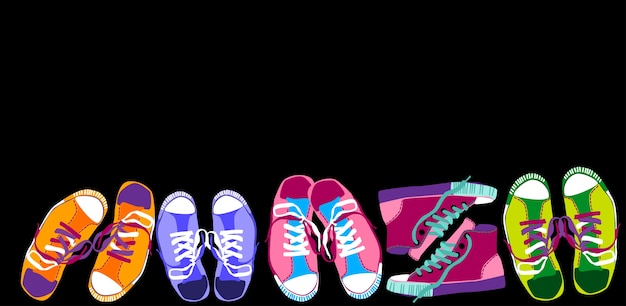 Colorful sneakers training sport shoes set