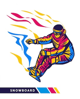 Colorful snowboard illustration with snowboarder motion