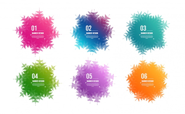 Colorful snowflake banners. overlay colors shape art design. abstract style spots. graphic tags.