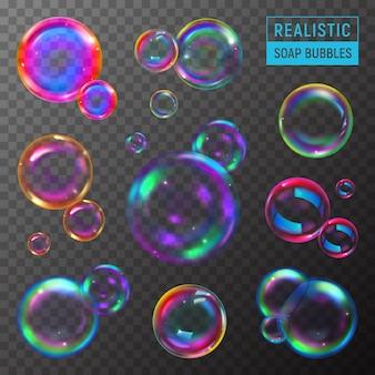 Insieme realistico di bolle di sapone colorate