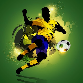 カラフルなサッカー選手撮影