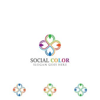 カラフルな社会グループのロゴ