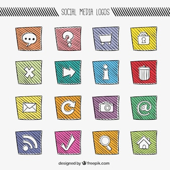 Colorful social media icons in sketchy style