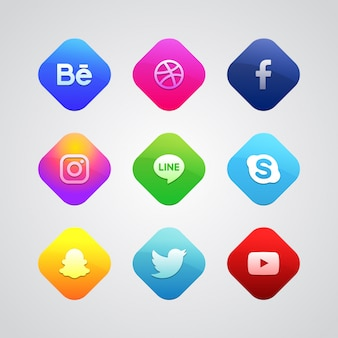 Colorful social media logo collection