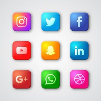 Colorful social media logo collection