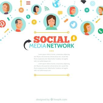 Colorful social media network background Premium Vector