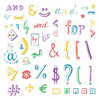Colorful social media sign and symbol doodles set. catchwords and, for, to, the, by. vector design element