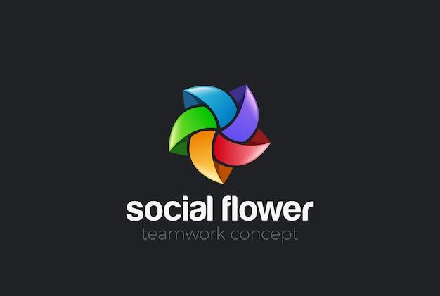 Colorful social star abstract logo. looped shape infinity loop teamwork logotype.